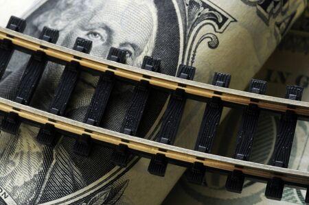 Rail closeup on US banknotes Stock Photo