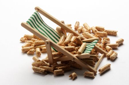 Close up on wood pellets