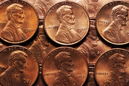 Close up on American cents with the portrait of Abraham Lincoln