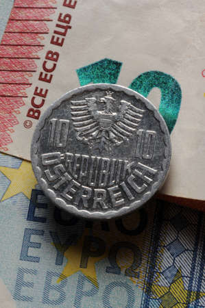 Old austrian schilling coin on euro.