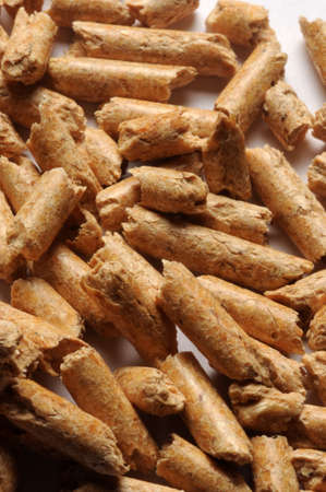 Close up on wood pellets