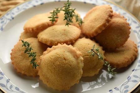 Close up of oregano biscuits