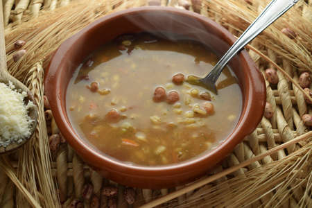 Hot barley and vegetable soup