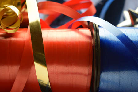 Colored ribbons for gift boxes Standard-Bild