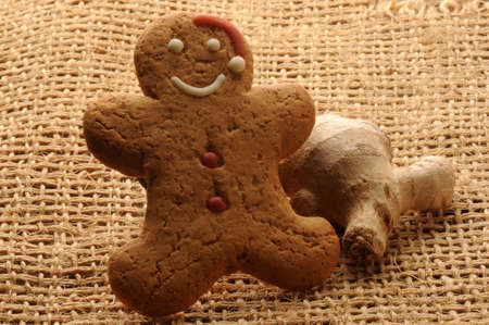 Gingerbread man with ginger rhizome Standard-Bild