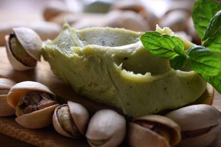 Close up on pistachio cream