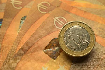 Close up on austrian euro.