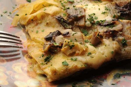 Closeup on baked vegetables with mozzarella