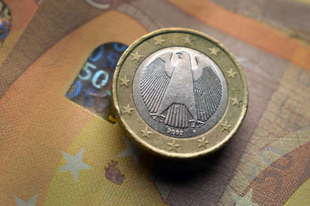 Close up on german coin on Euro