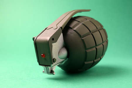 Close up on toy hand grenade