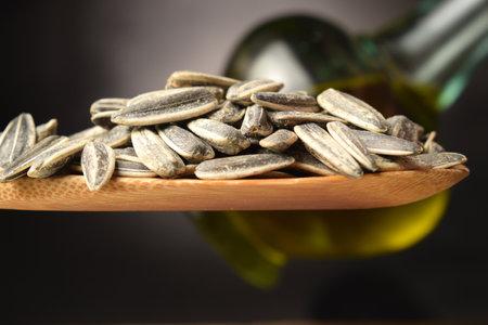 Close up on sunflower seeds.