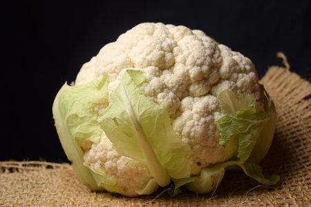 Close up on raw white cauliflower.