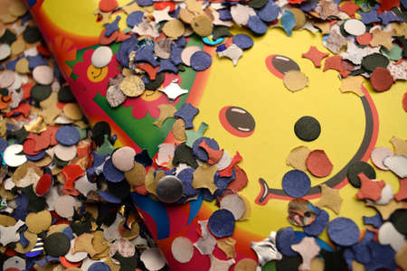 Close up on smile with confetti