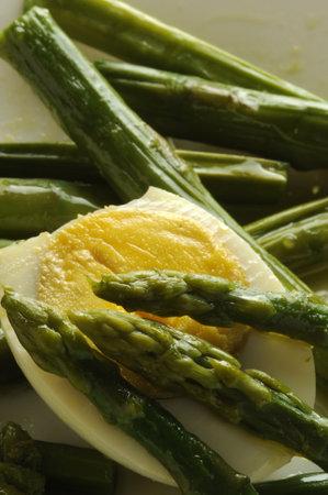 Green asparagus with hard-boiled eggs.
