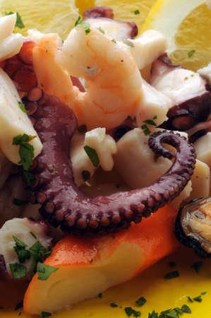 Close up on seafood salad Standard-Bild