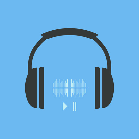 portable audio: Headphones icon. Headphones icon with sound waves and two buttons play and pause. Vector