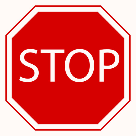 danger ahead: Stop sign. Red octagonal stop sign. Vector Illustration