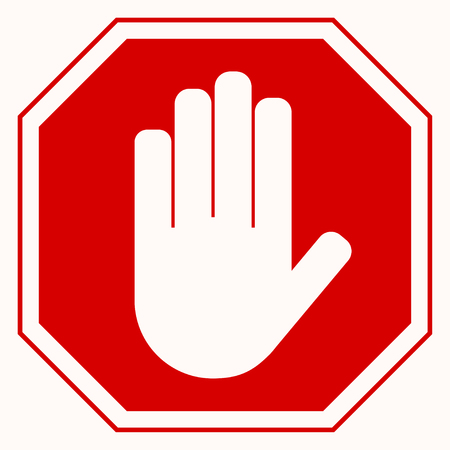 Stop sign. Red octagonal stop sign arm. White arm on red background. Vector