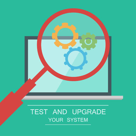 Testing system icon. Functional testing software. Laptop on background. Magnifier with cogwheels inside. Test and protect your PC