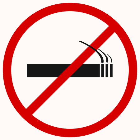 No smoking sign in red prohibition circle. Vector illustration
