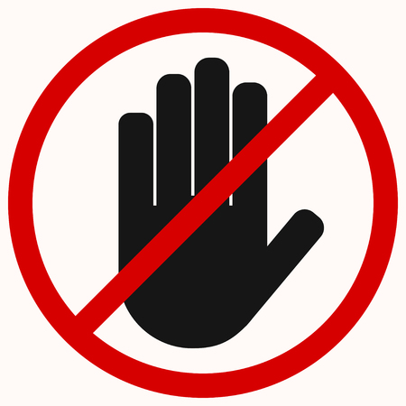 Stop. Black hand octagonal stop hand sign for prohibited activities. No entry Illustration
