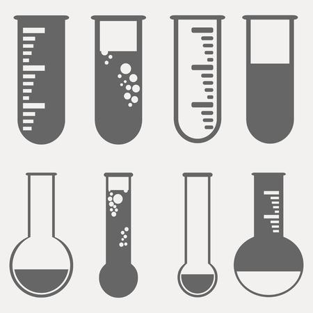 poison bottle: Chemical test tubes pictogram icons set. Vector