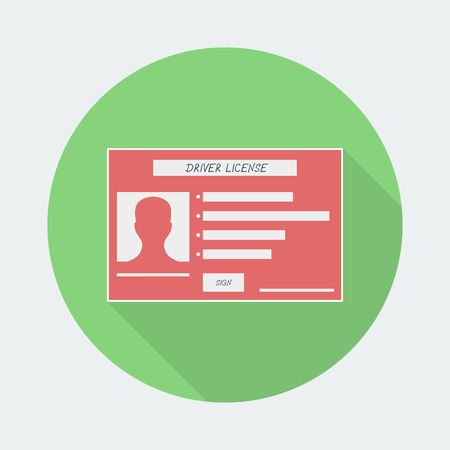 driver license: Driver license icon with shadow. Vector