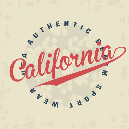 jersey: California typography for t-shirt print with flowers on background and retro grunge. Vector illustration Illustration
