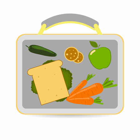 Lunchbox with school lunch: sandwich, carrots, apple, cucumber cookies Vector illustration