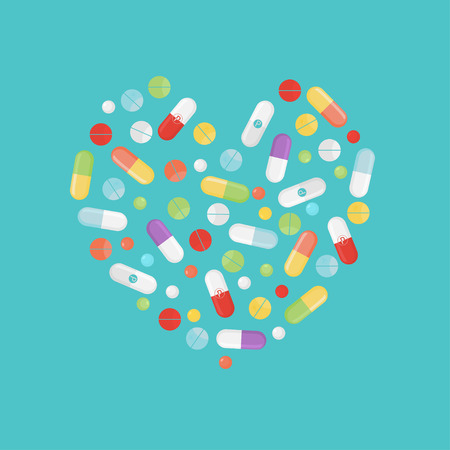 Pills and tablets set isolated on background in heart form. Medications are in different colors and position. Creative background for journal, book, website and others.Vector illustration