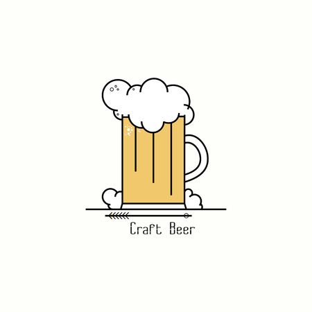 Glass of beer with foam. Line art badge logo design template for brewery, shop, pub, beerhouse, bar, brewing company. Vector illustration
