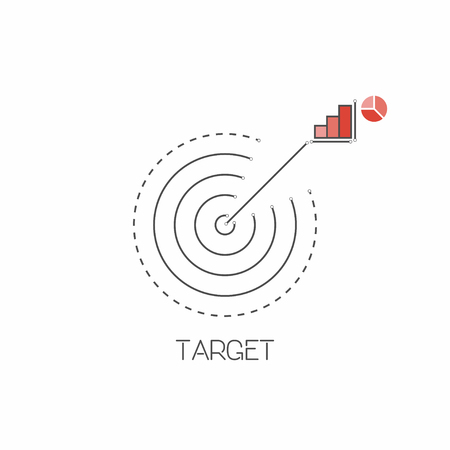 Target, goal line icon in restrained colors. Vector illustration