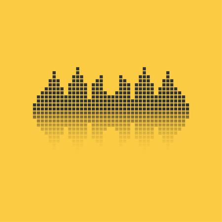 Square sound waveform. Music waves logo for sound studio, template for ui, musical equipment, vst. Vector illustration