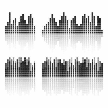 音の波形を正方形します。音楽は、サウンド スタジオのロゴ、テンプレート ui、音楽機器、vst を波します。ベクトル図
