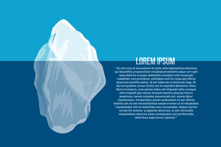 Iceberg above and under water. North sea poster with abstract iceberg. Vector illustration