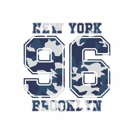 Camouflage typography for clothes with lettering New York, Brooklyn, 96. Typography for t-shirt, print, poster, banner, apparel. Vector print for sportswear