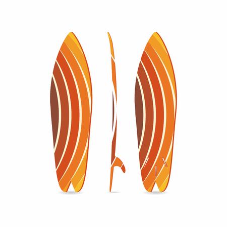 古典的なサーフボード。サーフボードの三面図。3 つの突起。カラフルな魚の円形ボード。サーファーの機器。T シャツ、プリント、ポスター、バナ  イラスト・ベクター素材