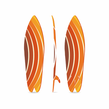 Classic surfboard. Three-sided surfboard illustration. Three projections. Colorful circular fish board. Surfers equipment. Vector illustration for t-shirt, print, poster, banner, for surfers clothes Illustration