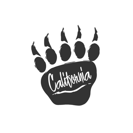 californian: Californian bear paw print. Bear footprint with lettering and scratch. Stamp for apparel, t-shirt, textile. Vector illustration