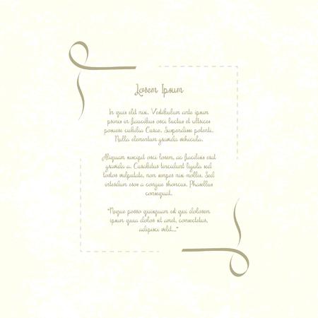 Vintage Zierrahmen. Retro-Vorlage, Platz für Text, Gedicht, Einladung, Restaurant-Menü, Zitate. Schäbiger Papierhintergrund Vektor