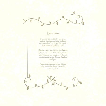 Marco decorativo de la vendimia. Plantilla retro, lugar para el texto, poema, invitación, menú del restaurante, citas. Shabby fondo de papel de fondo