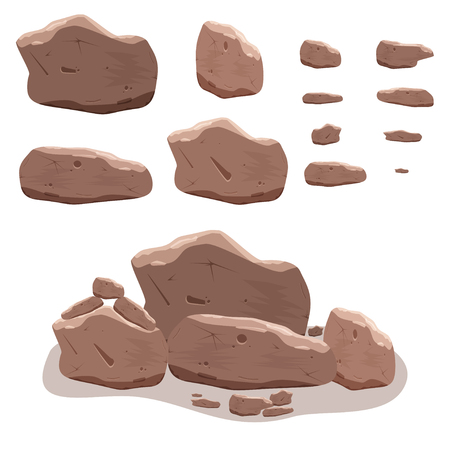 Rocks, stones set in cartoon style. Twelve isometric 3d boulders. Vector illustration