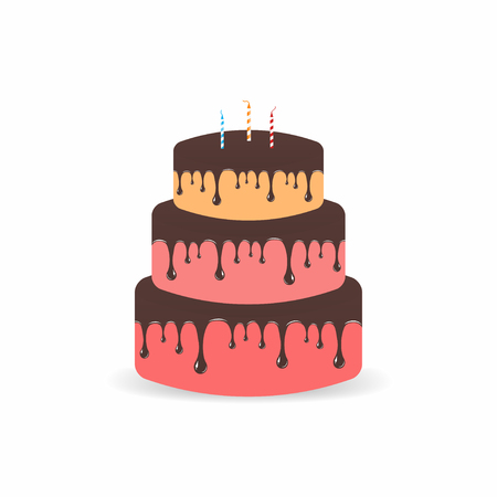 Birthday cake with candles. Three tiers cake with chocolate and glaze. Vector illustration