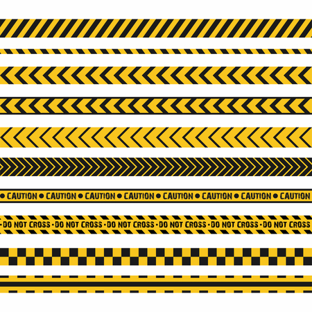 Police line, crime scene, do not cross seamless stripes. Set of yellow and black inhibition lines. Vector