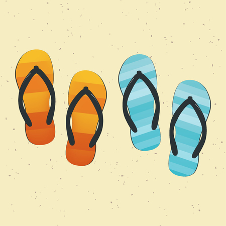 Pair of colorful flip-flops on sand. Vector Illustration
