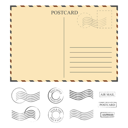 Vintage postcard with stamps, template. Set of stamps. Vector illustration