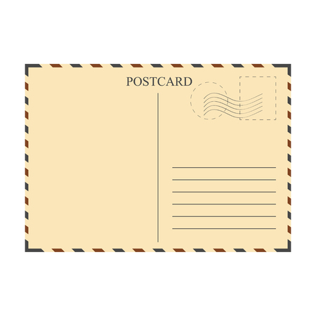 Vintage postcard, mail template. Space for text. Vector illustration