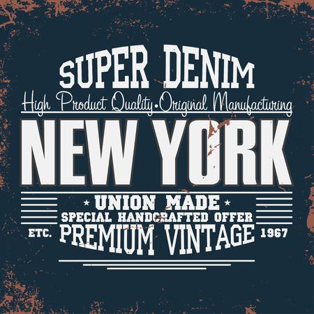 New York t-shirt graphics. Vintage denim typografie. Vector Stock Illustratie