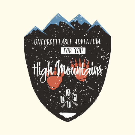 Adventure logo, vintage hipster apparel emblem. High mountains typography, poster, badge with mountains, bears paw and lettering. Camping, hiking, climbing. Vector