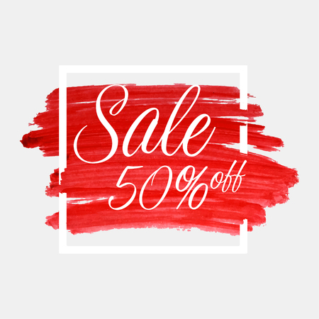 Sale, 50 percent off lettering on watercolor stroke with white frame. Red grunge abstract background brush paint texture. Vector